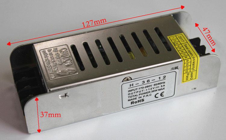 ShenZhen Factory 12V36W slim  power supply SMPS 110V 220V AC to 12V DC LED power supply(12/24/36/48/54VDC)