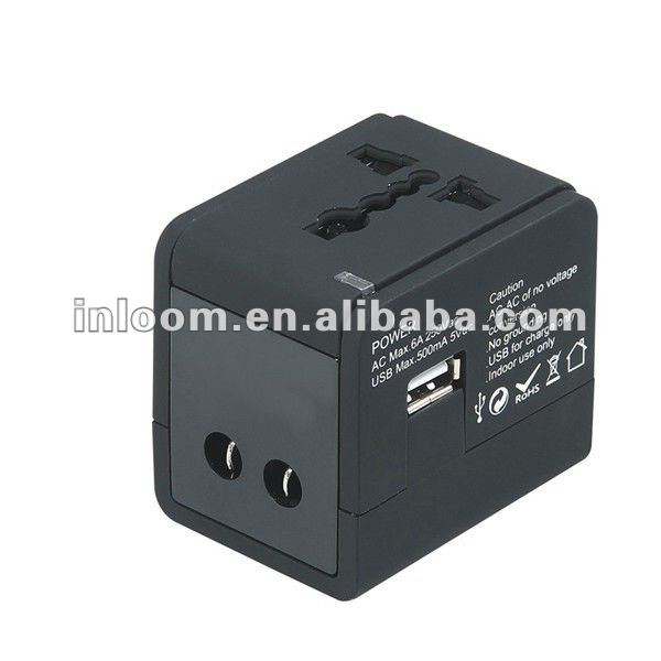Travel adaptor with USB port output