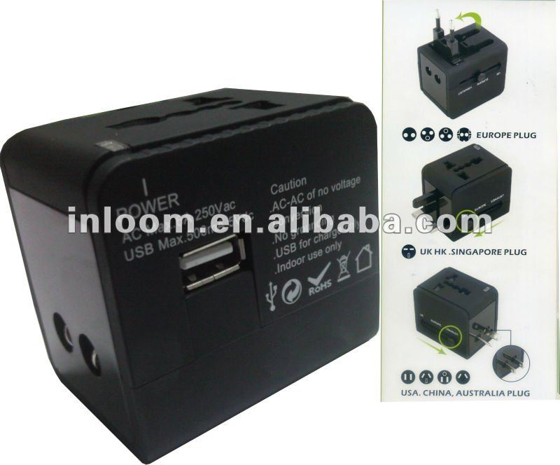 multiple portable Universal travel charger/adaptor/adapter with USB output 5VDC2.1A