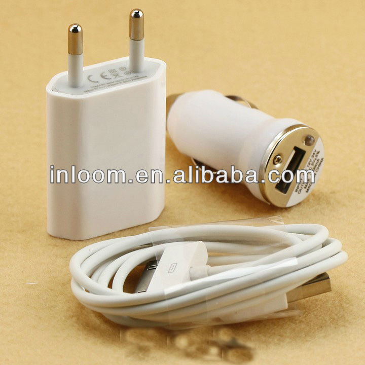 3-in-1 AC wall and car charger with USB cable for iPhone