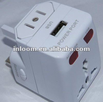 multifunctional travel adaptor with USB port output