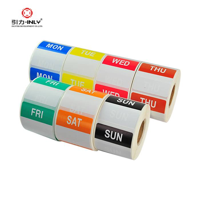 Custom color thermal paper label roll week dot label sticker