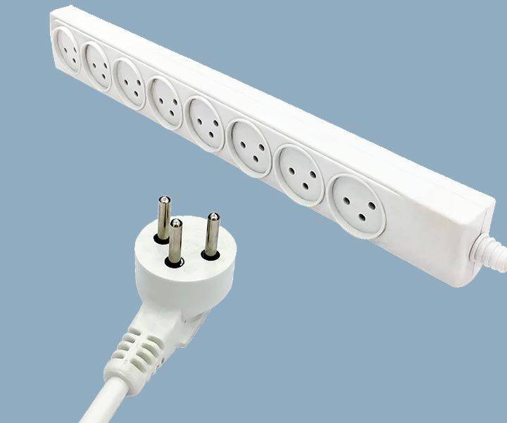 Israel Electrical 8 Way Power Strips 16 Amps Extension Outlet Cord
