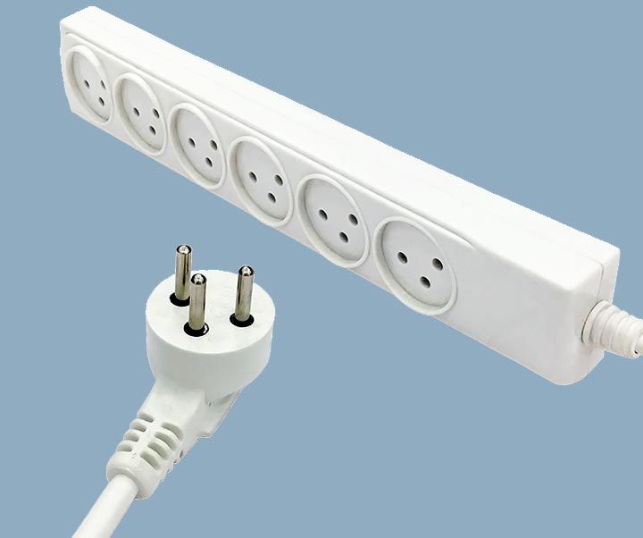 Israel Power Strip 16A Plug Six Outlets Extension Socket Cord