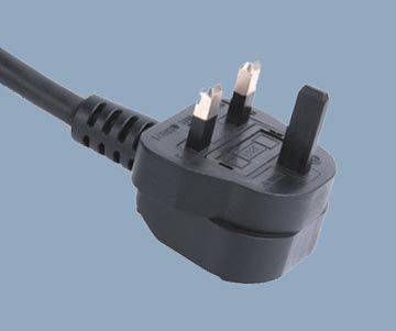 UK 3A 2 Conductor with Plastic Ground Plug Pin Power Cord