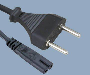 Swiss 2 pin plug to IEC C7 Ac power cord