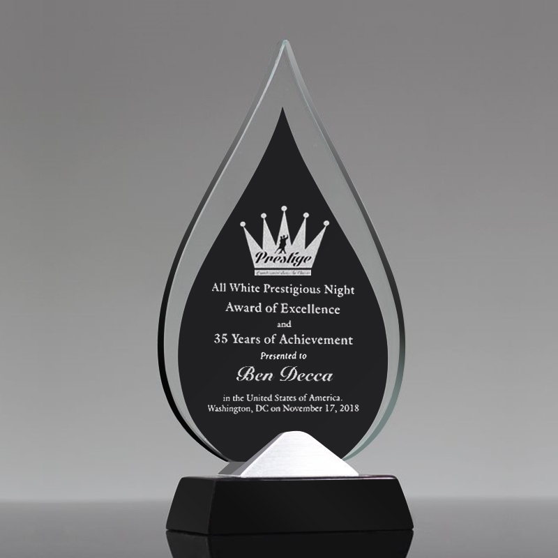 water shape Clear Glass Trophy with metal base-GT821000 Featured Image