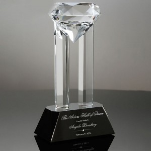 crystal glass diamond trophy with black base crystal glass gifts CT841460
