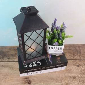 Plastic Led Candle Lantern Metal look, with glass
