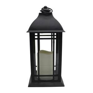 Black Plastic candle lantern decorative for outdoor battery operated
