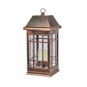 Solar outdoor Powered Iron Metal Lantern with LED candle holder