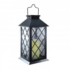 BLACK SOLAR POWETED METAL LANTERN, FLAMELESS LED CANDLE INSIDE