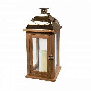 Indoor Decor Wooden Battery Powered Garden Decoration Candle Wood Lantern
