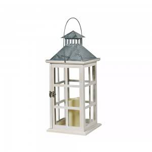 WHITE BATTERY POWERED DECORATIVE LED CANDLE INSIDE WOODEN CANDLE LANTERN