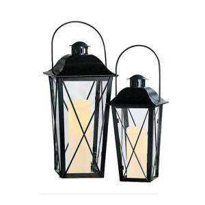 cheap rechargeable small stainless steel light Outdoor Black Metal Lantern