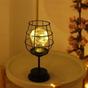 Wine glass shape Wrought Iron Candle Holders Coffee Table Decorative Candle
