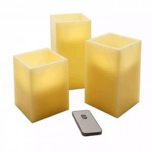 Square high quality wholesale color remote controlled LED electronic candle