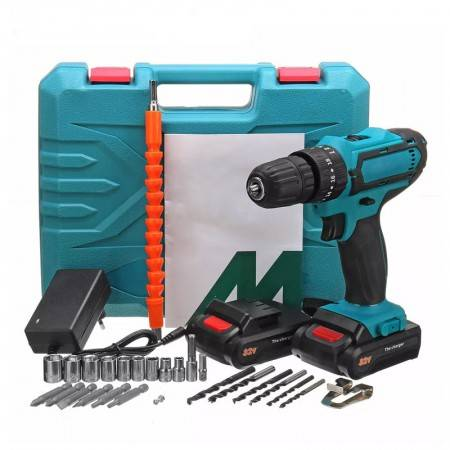 32V Cordless Electric Screwdriver Household Rechargeable lithium Battery Drill Electric Tool Drill Driver+Accessories
