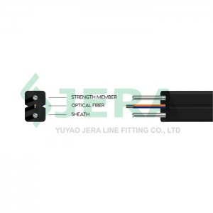 FTTH drop cable, reinforced by steel rods, 2 Fibers