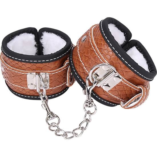 Leather snakeskin brown Handcuffs with fluff P707-C