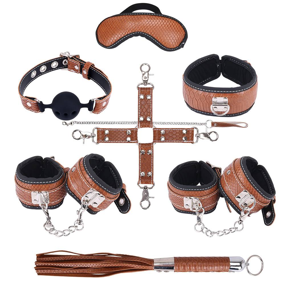 Bondage Restraint 8 Kits Snakeskin Leather Set P686-C Featured Image