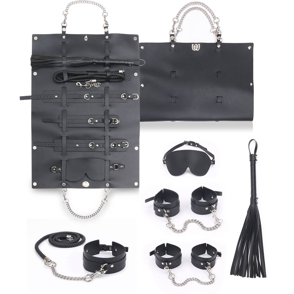 Leather bondage set 6 kits with packing bag PZ-850-A