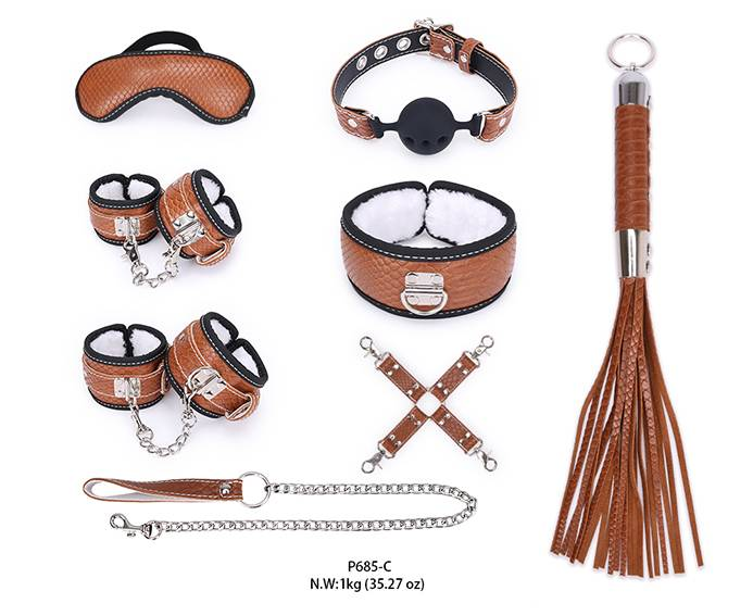 Bondage Restraint 8 Kits Snakeskin Leather Set P685-C