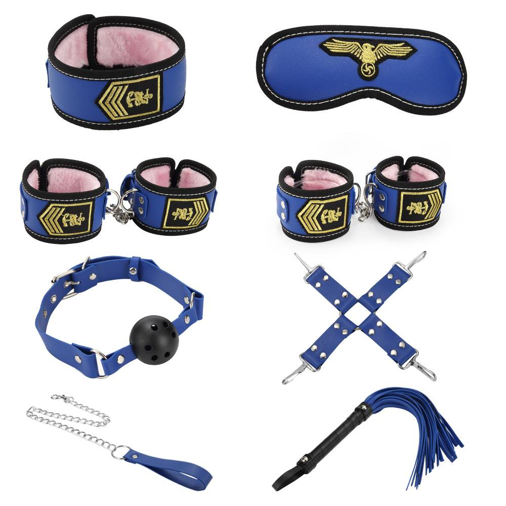 Leather bondage set Stewardess blue 8 kits PZ-812