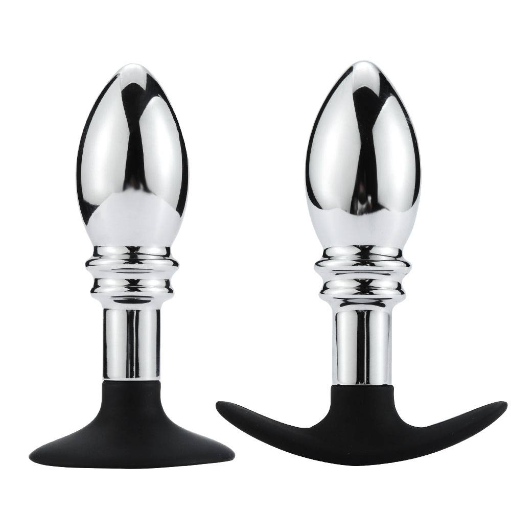 Metal anal plug Silicone sucker or anchor RY-141-A