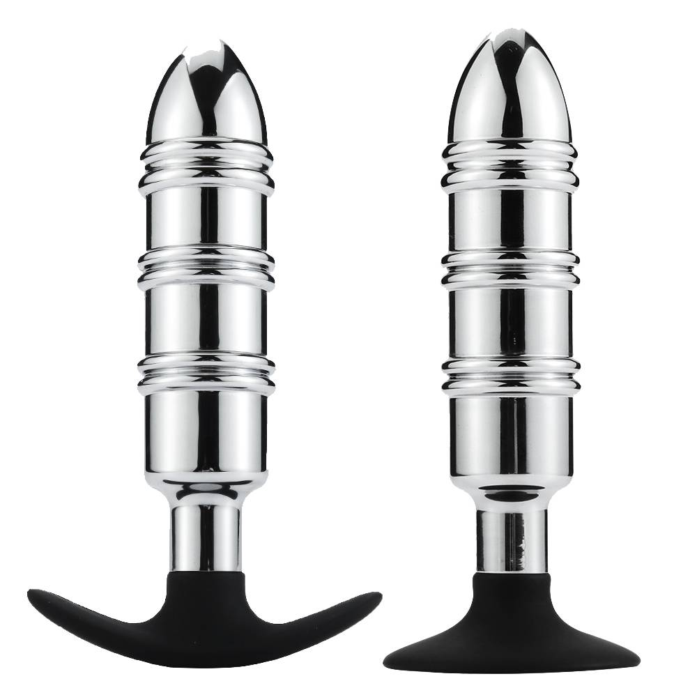 Metal anal plug Silicone sucker or anchor RY-142-A