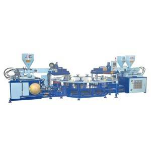JIC506BL Three Color PVC Upper and Strap Injection Machine