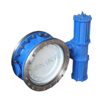 Pneumatic triple offset metal seat butterfly valve