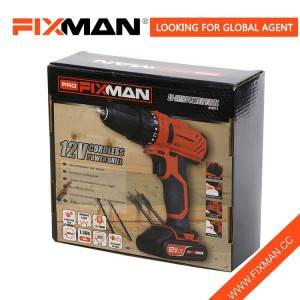 Fixman 12V Red Black US Electric Power Drill Set Took Kit Color Box