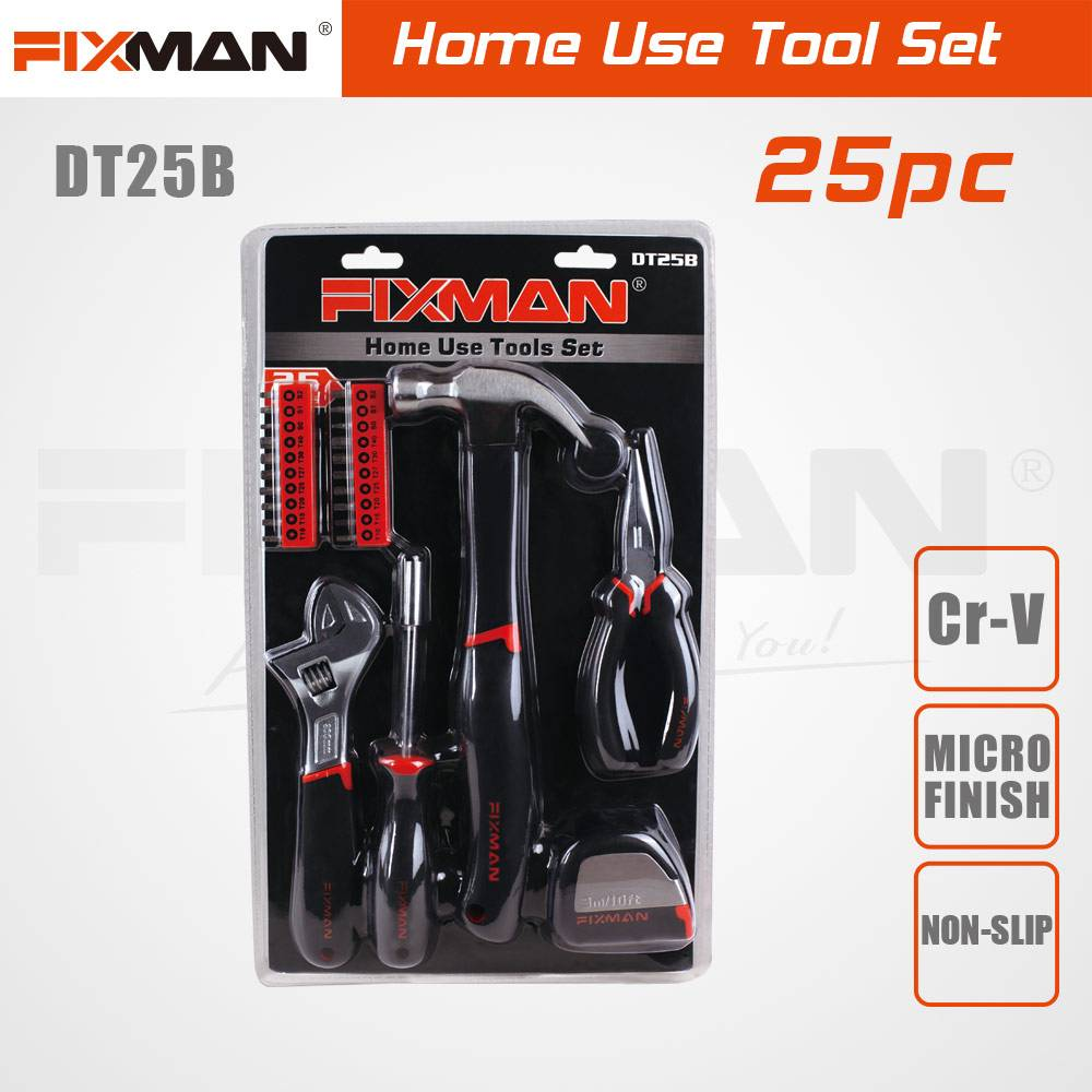 FIXMAN 25-PCS Home Use Complete Tool Box Set DT25B Featured Image