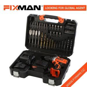 Fixman Hot Sale 55 Pcs Professional Lithium Battery Electric Power Drill Tool Set Combination