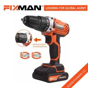 18V Mechanical Industrial Professional Qualtiy DC Power Drill with Impact Function BMC Packing