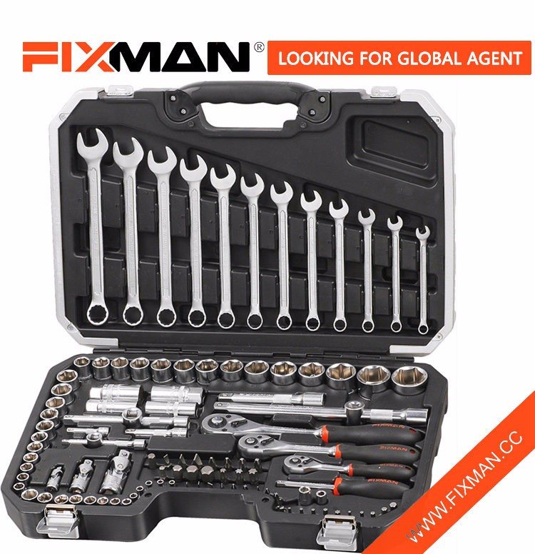 "FIXMAN Professional Hand Tools Set 111PCS 1/2"" & 1/4"" & 3/8"" DR. Socket Wrench Tool Set"