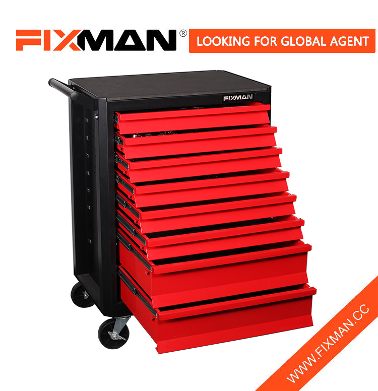 FIXMAN Best Portable 8-Drawer Mobile Tool Storage Chest Roller Cabinet Side Tray