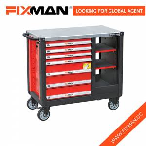Fixman 7-laci Steel Mobile Workbench Alat Panyimpenan Gawé Wagub Bangku Pakakas Table