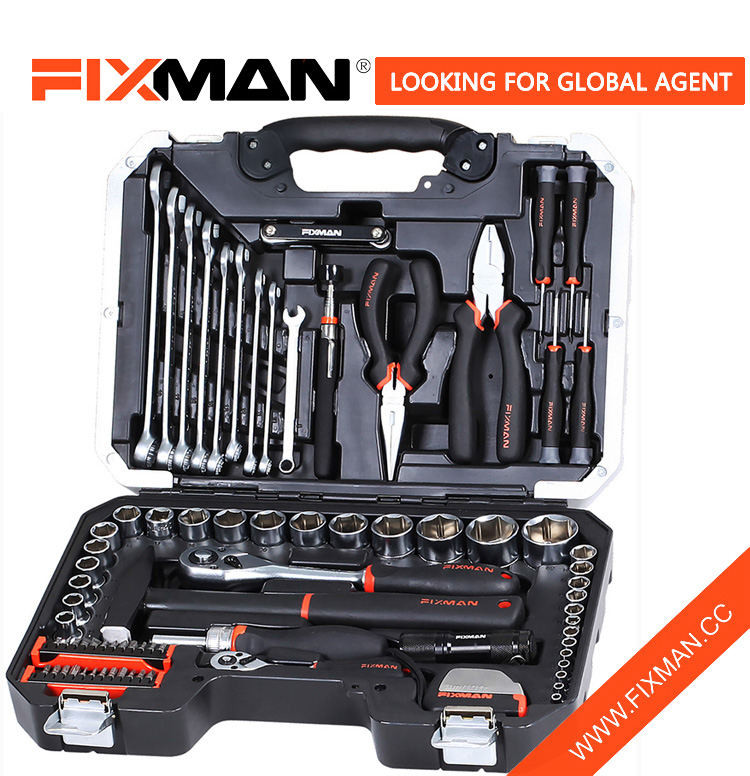 84 Pieces Mechanic Automotive Tool Box , Logo Printed Household Hardware Tool Set
