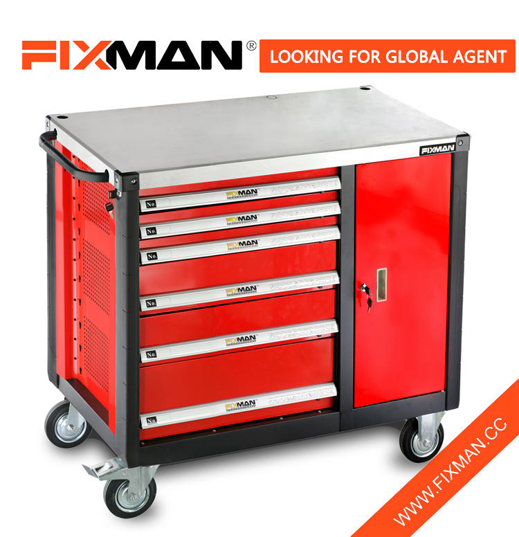 FIXMAN Garage Metal Workbench Tool Garage Hand Trolley Worktable 6-Drawer