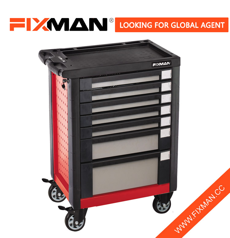 FIXMAN 7-Drawer Roll Away Tool Box Chest Combo On Wheels With Handle For Sale