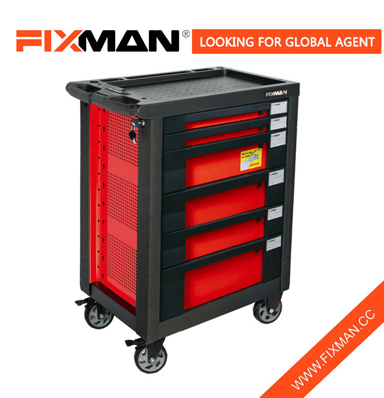 FIXMAN 6-Drawer Mobile Ọpa Box nilẹ Minisita On Wili