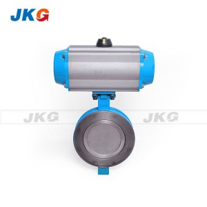 150LB Pancake Wafer Pneumatic Control Butterfly Valve with Viton Seat Stainless Steel Disc 3""