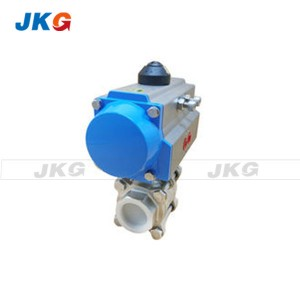 PN16 Pneumatic Actuated Ball Valve Double Acting Piston Double Flange Ends