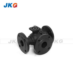 Flange End Cast Steel L-port 3 Way Flanged Ball Valve PN16 4 Inch Direct Mounting for Automation
