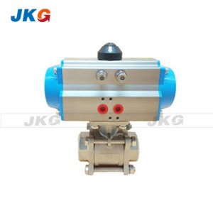 3 Pieces Stainless Steel Pneumatic Actuated Ball Valve Thread Screw Valve Q611F