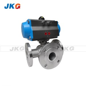 Flange Industrial Pneumatic Actuated Ball Valve SS Water Control Valve WCB Rotary