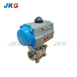 Stainless Steel Pneumatic Actuated Ball Valve 3 Piece Threaded Valve DN50 DN65 DN80