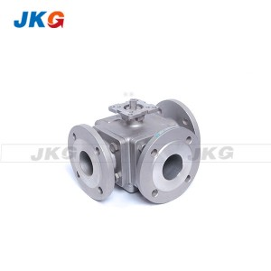 Small Full Port 3 Way Flanged Ball Valve Square Body with Mounting Pad
